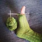 Twisted lace sock nästan färdig